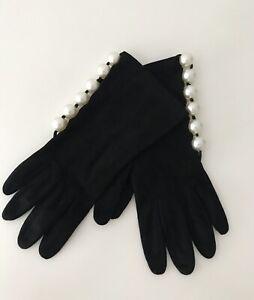 Vintage VALENTINO GARAVANI BOUTIQUE Women's Gloves Suede Pearls Size 7!
