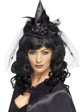 Witch Hat Mini Halloween Adult Womens Fancy Dress Costume Accessory - Black