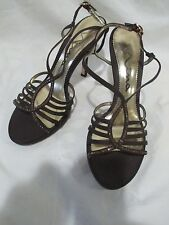 "NINA+WOMEN'S STRAPPY SANDALS+SLINGBACK+BROWN+SIZE 8 1/2M+4"" HEEL+STONE EMBELLISH"