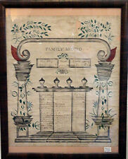 19th c. Hand Drawn American Family Record Genealogy