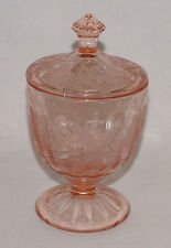 "PERFECT Vintage Pink Jeannette ""FLORAL/POINSETTIA"" Covered CANDY DISH!!"