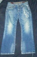 Rock Revival Men Size 33 x 32 Jimmy Bootcut Jeans Faded and Distressed