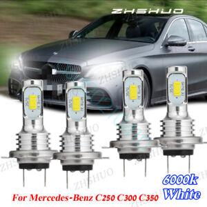 For Mercedes-Benz C250 C300 C350 4Pcs Combo H7 LED Headlight High Low Beam Bulbs