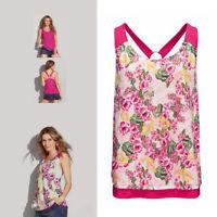 AVON Ladies Womens Floral Flower Print Reversible Ring Back Vest Top Size 22 24