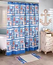 Nautical Coastal Lobsters, Sailboats, Lighthouses Fabric Shower Curtain ~ Nip
