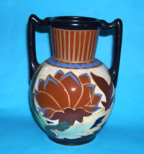 Art Pottery - Attractive Twin Handle Urn Floral Inspired Vibrant Colour Design.