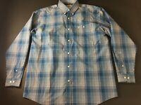 Wrangler 20X Mens Blue Plaid Front Pocket Button Front Shirt Size XL