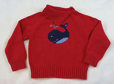 Gymboree Girls 5 5T Whale Watching Red Sweater Mock Turtle Neck Fold Sequin Navy