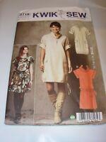 WOMENS UNCUT KWIK SEW 3718 Sewing Pattern COWL TUNIC DRESS MOD SIZE XS-XL