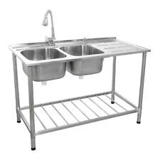 More details for catering sink commercial stainless steel kitchen double bowl drainer unit & tap