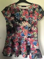 Very/So Fabulous Stretch Multi Floral Print Peplum Top Size 16