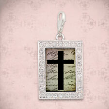 CHRISTIAN LATCH CHARM, Cross, USA MADE, Sterling Silver Plated, Clip-on