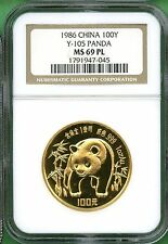 PANDA GOLD 1 OZ 1986 NGC 69 PROOF  LIKE   CHINA  RARE