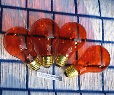 BOX of 4 } AMBER orange 25w PARTY LIGHT BULB 25 watt A19 regular 130V FIREPLACE