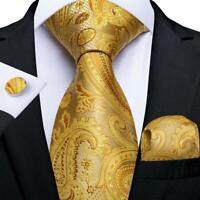 Mens Gold Paisley Floral Silk Tie Set Necktie Handkerchief Cufflinks Wedding