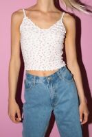 brandy melville white/pink floral v neck Nicolette ruffle tank top NWT sz XS/S