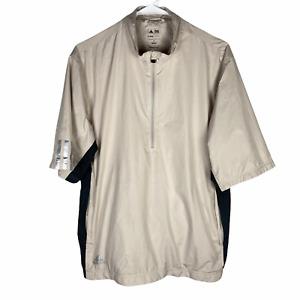 Adidas Climaproof Short Sleeve Golf 1/2 Zip Jacket Men's Small Beige Khaki Black