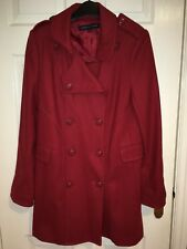 *NEVER WORN* FRENCH CONNECTION Wool Blend Double Breasted Deep Red Coat 12 UK