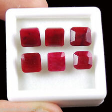 6 Pcs Natural Pigeon Blood Red Ruby Ring Size Finest Emerald Cut Gemstones Lot