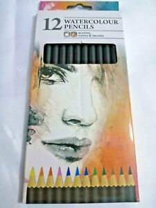 12 x WaterColour Pencils Set Watercolour Pencils ART ARTIST Drawing Art -UK