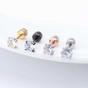 Zircon Stud Earring Round Double Head Crystal Earrings Piercing Jewelry Gifts