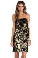 NEW ANNA SUI VILLAGE BURNOUT MINI DRESS SIZE 10 $343 METALLIC ANTHROPOLOGIE