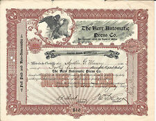 Pennsylvania The Herr Automatic Press Co Stock Certificate 1907 Ambler Pa
