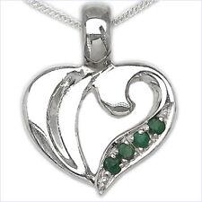 Collier/Kette m.Smaragd-Herz Anhänger 925-Silber Rhodiniert