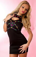 SEXY MINIKLEID mit Bunten STEINEN CUT OFF MINI DRESS  SCHWARZ UK 14 40/42