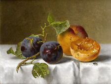 Dream-art Oil painting beautiful still life fruits peaches and Plums on canvas