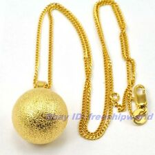 "REAL UNIQUE 18K YELLOW GOLD GP 17mm BIG BALL PENDANT 17.7"" NECKLACE SOLID FILL"