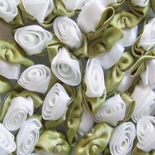Large Satin Ribbon Roses Buds Embellishments x 20 - * Choose Your Colour *