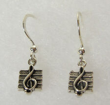 Miniature Treble Clef Dangle Earrings .925 Sterling Silver Music Note USA Made