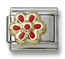 18K Italian Charm Daisy Flower Red Enamel 9 mm Stainless Steel Modular Link Gift