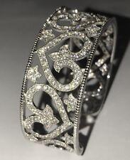 JOSEPH ESPOSITO Heart Sterling Silver CZ Diamonique Cuff Bracelet QVC ESPO