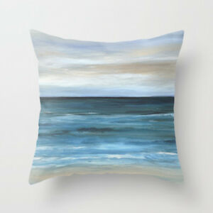 Throw Pillow Case Cushion Cover Sea View 266 blue ocean beach L.Dumas