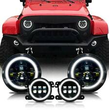 2007-17 For Jeep Wrangler JK Halo LED Headlight + Halo LED Fog Light Combo Kit