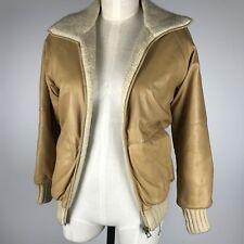 VTG Felfe Womens Leather Woven Reversible Italian Bomber Jacket Tan/ Beige SZ 8