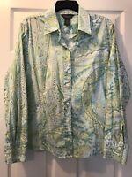Van Heusen Ladies Top Long Sleeve  Button Down Paisley Size XL 100% Cotton