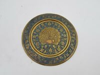 Brass Peacock Bird Plate Round Dish Wall Mount Cobalt Blue Floral Decor 7-3/4 D