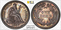 1867 10C Seated Liberty Dime PCGS PR 62 Proof Key Date Low Mintage Toned