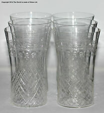 Set of 6 Pall Mall/Lady Hamilton pattern small water glasses, etched/cut