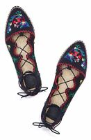 NEW Tory Burch Sonoma Embroidered Beaded  Ghillie Flat Espadrille Navy US 6.5