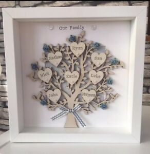 Personalised Family Tree Christmas Grandparents Framed Gift
