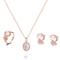 Luxury Women Fashion Rose Gold Crystal Necklace Ring Earring Jewelry Gift Set