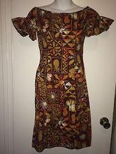 VINTAGE ALFRED SHAHEEN BROWN TIKI FLORAL PRINT DRESS RUFFLE SLEEVES HEM SMALL