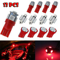 13Pcs Red Auto Car LED Interior Lights Mixed Dome License Plate Lamp Bulbs Set
