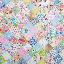 Dollhouse Miniature Blue & Pink Vintage Patchwork Quilt Computer Printed Fabric