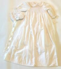 VTG NWT Cupcake Originals SMOCKED White LS Christening Gown w/Bonnet Pearls Lace
