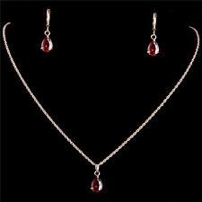 18 k Gold Filled Ruby Water Drop Pendants Necklace Earrings Jewelry Sets